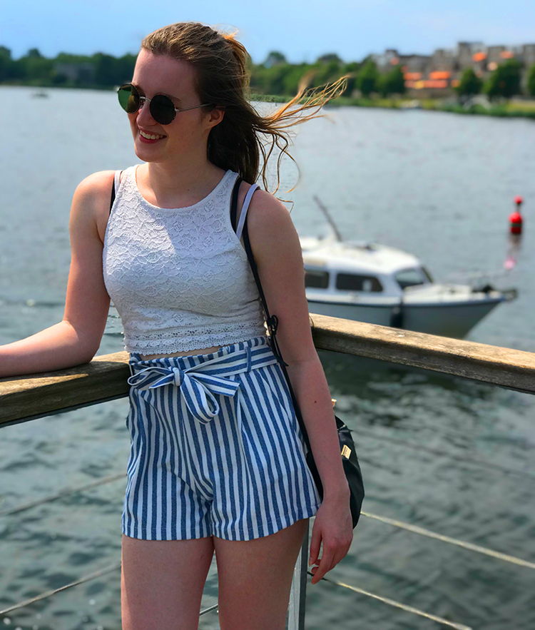 Blue with white stripes shorts with lace top