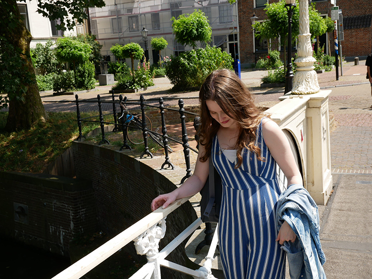 Blue stripes jumpsuit from F21 | Outfit